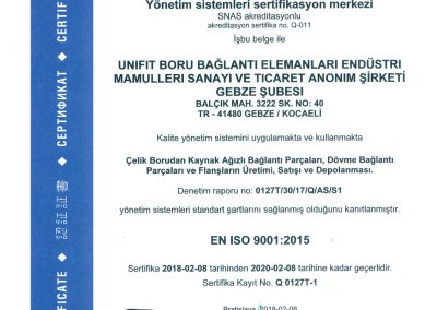 UNIFIT ISO9001:2015 TR